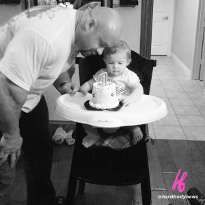 Daddy helps Faith celebrate 1st b-day